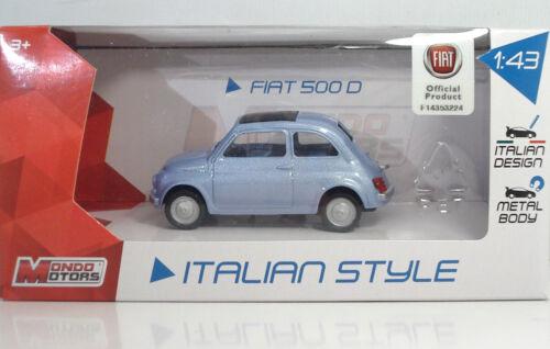 "METAL Scala 1:43 MondoMotors 53140 FIAT 500 /""1969/"" Celeste"