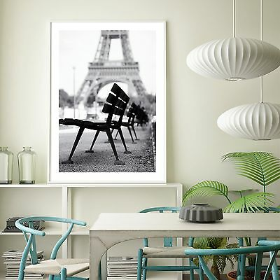 Eiffel Tower Art Silk Canvas Poster Black And White Fabric Paint A105 No Frame