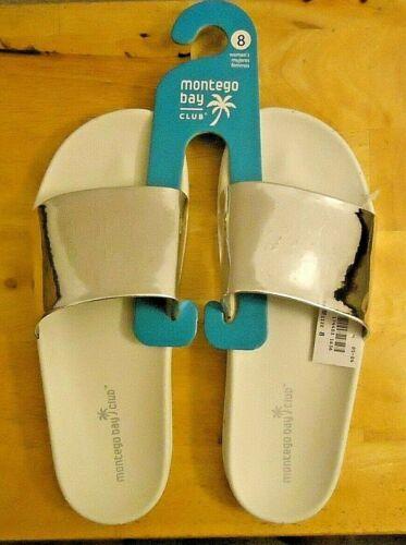 Women/'s Montego Bay Club Metallic Silver Slide Sandals Size 7 8 9 10 NWT