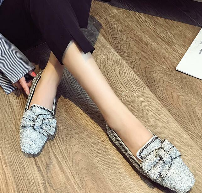 Womens Bowknot Loafers Flat Round Toe Sequins Sequins Sequins Rhinestone Casual Boat shoes New Y d4a757