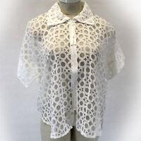Lior Paris Lagenlook White Sheer Circles Jacket Blouse Large/xl (1x, 2x)