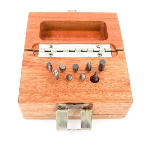 Boro Park 9 Pc Miniature Burr Set Solid Carbide 1//8″ Shank 1//4″ Cutting Dia.