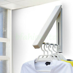 Coat fold away hanger wall mounted clothes hanging rail for Fold down coat hooks