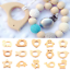 1PC Safe Natural Wooden Teether Cartoon Animal Shape Ring Baby Teether Accessory