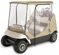 4-sided Golf Cart Enclosure, Protection Cover Weatherproof Zipper Clear Tan