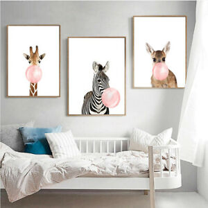 Funny Animal Print Poster Canvas Painting Wall Art Home Kids Room Decor Unframed Ebay