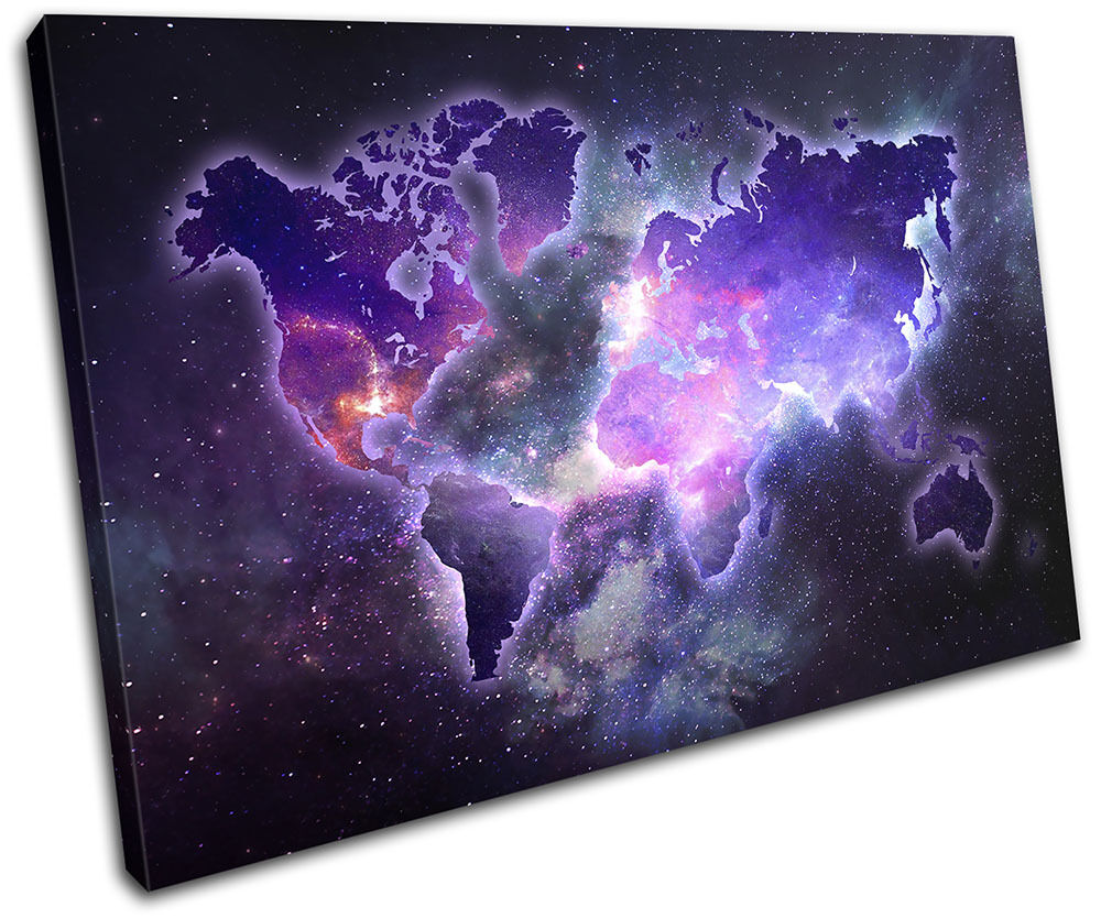 World Atlas Galaxy Space Maps Flags SINGLE TOILE murale ART Photo Print