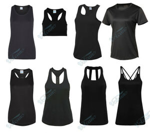 LADIES-BLACK-SPORTS-TOPS-GIRLIE-COOL-VESTS-FOR-WORKOUTS-RUNNING-YOGA-FITNESS