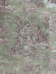Vintage Pink Green Toile Curtain Handmade Lined Cotton Bird Castle Garden Picnic