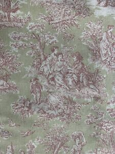 Vintage-Pink-Green-Toile-Curtain-Handmade-Lined-Cotton-Bird-Castle-Garden-Picnic