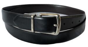 DOCKERS-Genuine-Leather-Black-Brown-Men-s-Reversible-Belt-Sz-50-125-NWOT