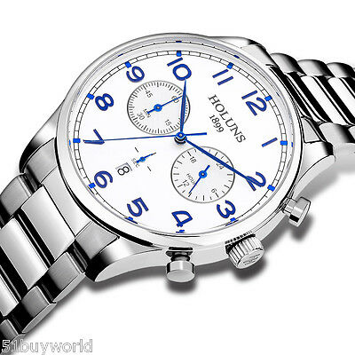 Fashion Luxury HOLUNS Men's Stainless Steel Calendar Male Waterproof Wrist Watch