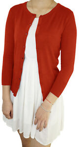 Women-3-4-Sleeve-Fitted-Crew-Neck-Vintage-Soft-Knit-Basic-Cardigan-Sweater