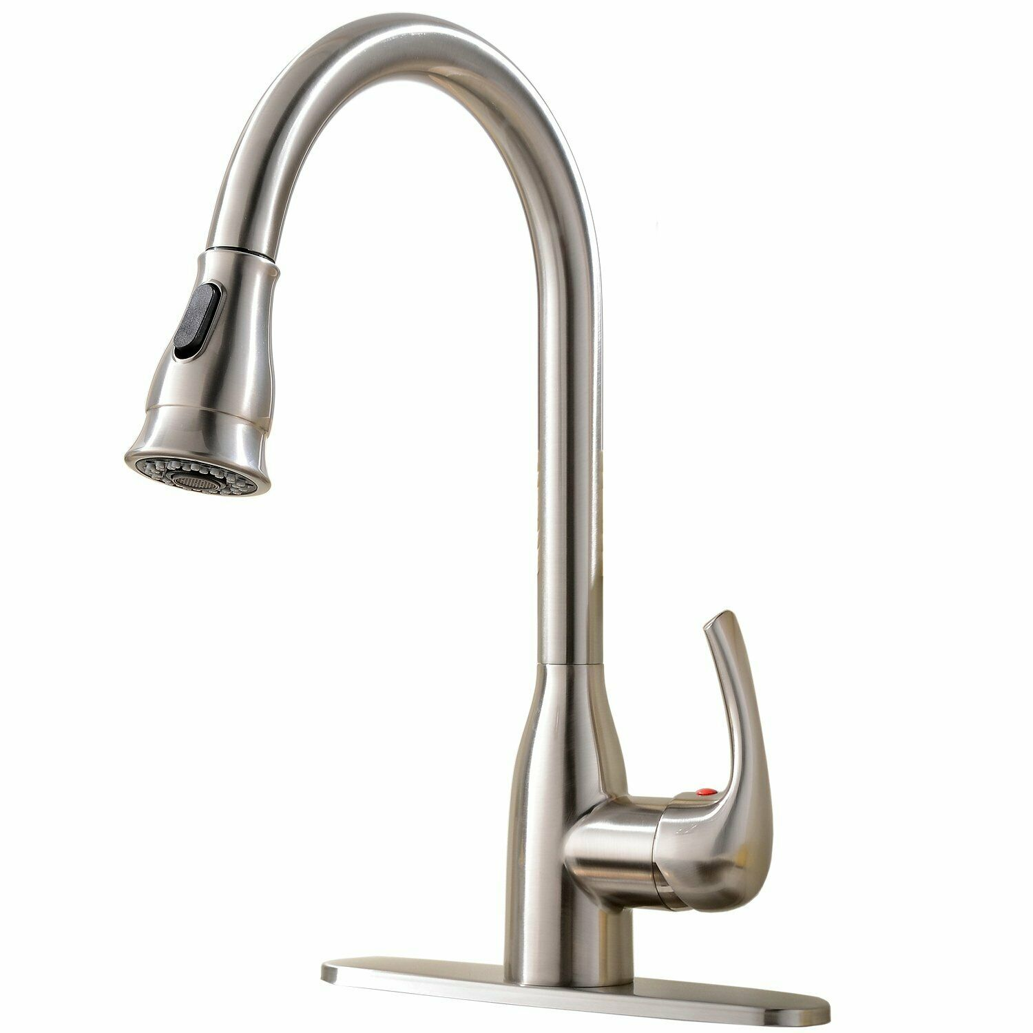 Commercial Kitchen Sink Faucet Single Handle Stainless Steel Pull Down  Sprayer