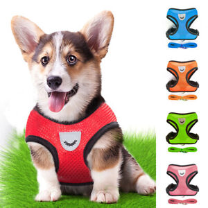 Pet-Dog-Mesh-Breathable-Vest-Leads-Strap-Adjustable-Collars-Rope-Durable
