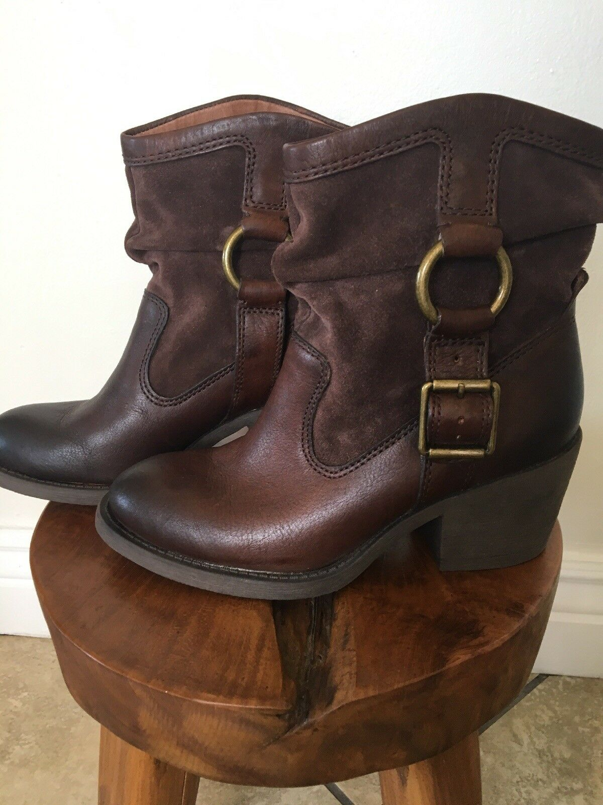 NEW  LUCKY BRAND Boxer 2, Slouch Boots 6.5 Brown Leather & Suede  149