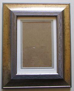 bilderrahmen mit glas und passepartout 21x26 cm barock muster fotorahmen ebay. Black Bedroom Furniture Sets. Home Design Ideas