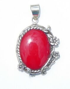 Sterling Silver Pendant With Coral