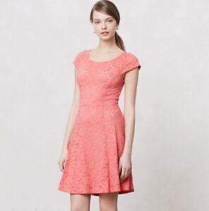 Anthropologie-Maeve-Fit-Flare-Dress-Womens-Size-Medium-Dayflower-Lace-Cap-Sleeve