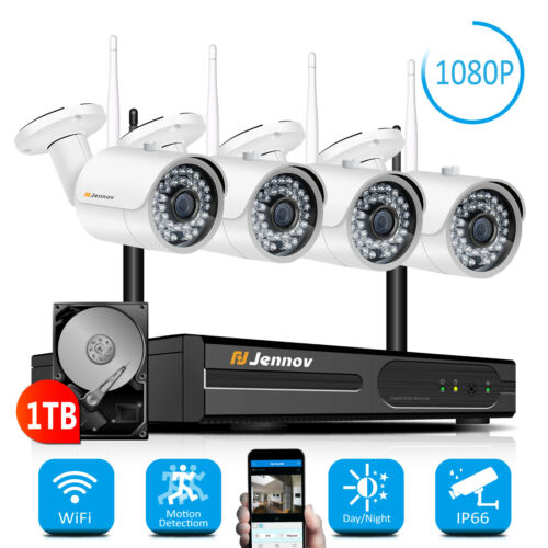 1080P 4CH Wireless Security Camera System Outdoor Wifi CCTV NVR 1TB Home Set US