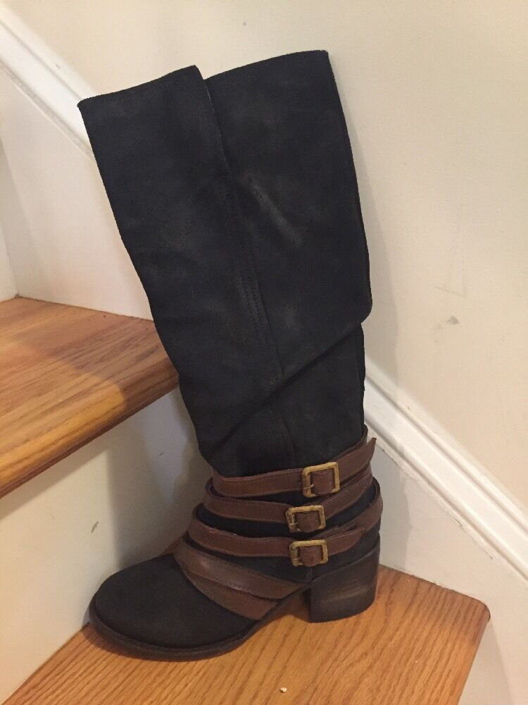 Freebird Navy Boots With Brown Leather Straps NWOB Size 6 Retail 350