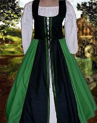 Renaissance Medieval Costume Celtic Kelly Merchant Class SCA Garb BodiceOvrsktXL