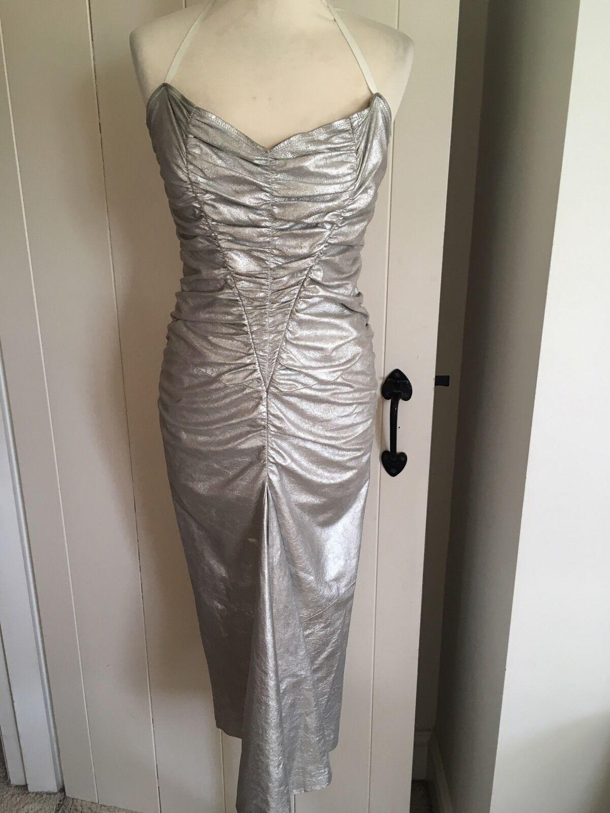 MIU Miu Vintage Stretch Abito arricciato argento argento argento in pelle 0bb39c
