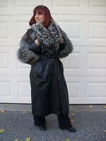 Dominic Bellissimo Black Leather & Silver Fox Coat High Fashion designer NEW
