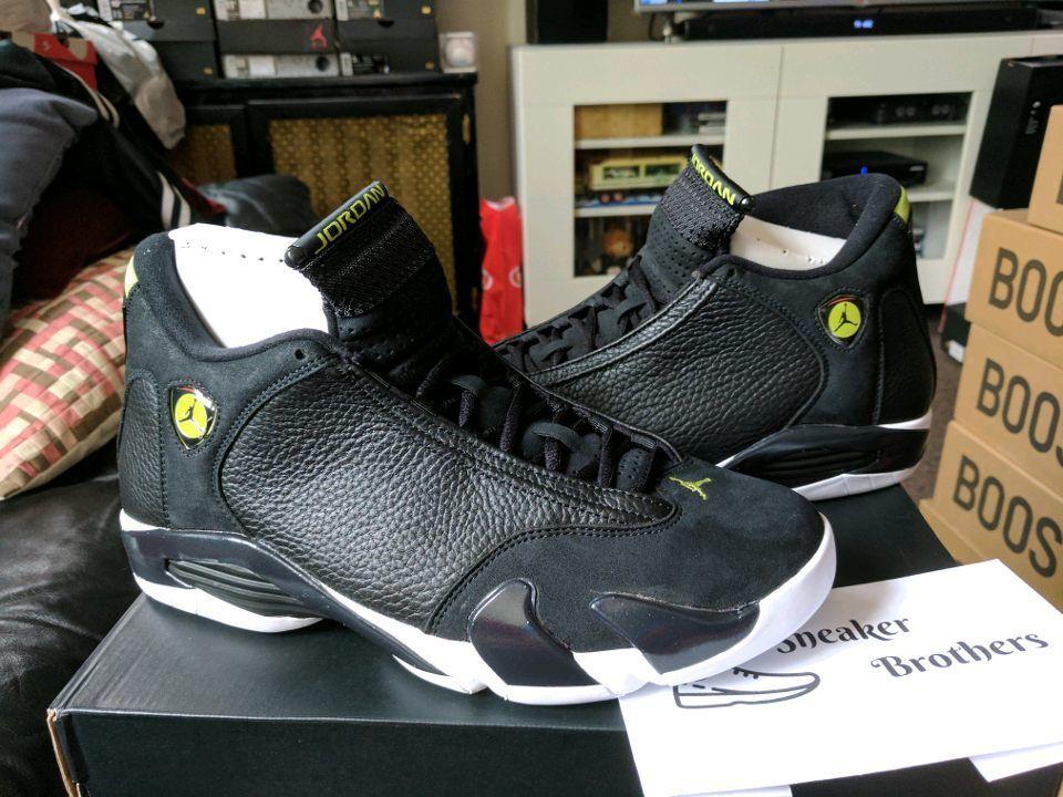 Nike Air Jordan Retro XIV 14 Indiglo Black White Vivid Green 487471-005 Oxidized