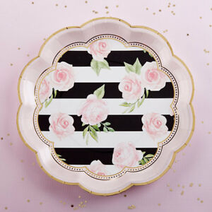 Set-of-24-Floral-Striped-Paper-Plates-Bridal-Shower-Wedding-Decorations