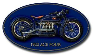 """1922 ACE FOUR MACHINE CUT OVAL METAL SIGN.16"""" X 9"""".VINTAGE AMERICAN MOTORCYCLES"""