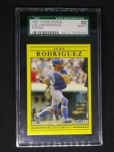 1991 Fleer Update #U-62 Ivan Rodriguez HOF Rangers Rookie Card SGC 9 Mint PSA