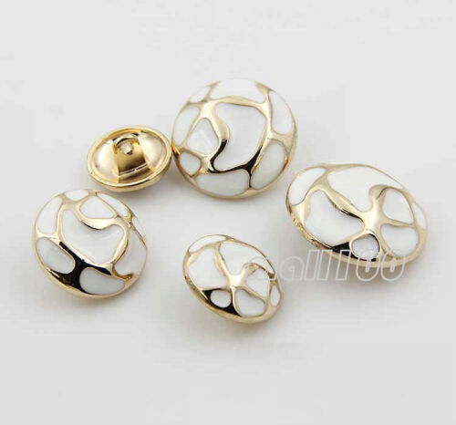 12pcs Overcoat Shank Buttons White Round Metal Rivets Sewing Embellishment DIY