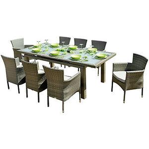 Set giardino con tavolo da pranzo allungabile 170-220x100 cm e 8 ...