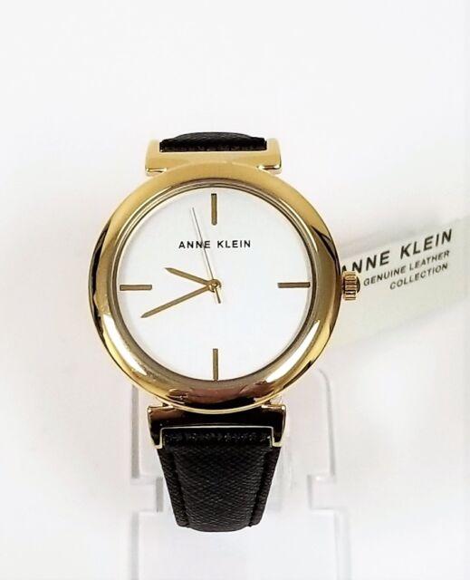 4b8bd6f34 Anne Klein Women's Gold-tone Faux Leather Black Strap Watch Ak2378svbk