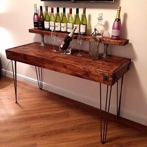Reclaimed Wooden Rustic Vintage Industrial Home Wine Bar Table Man ...