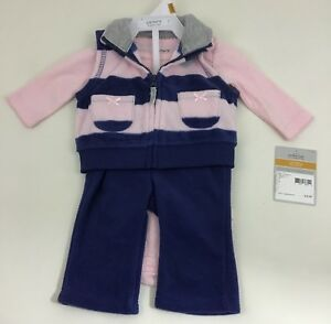 Newborn-Girl-Outfit-3-Pc-Baby-Girls-Carter-039-s-Set-Fleece-Sweater-Vest-New-w-tags