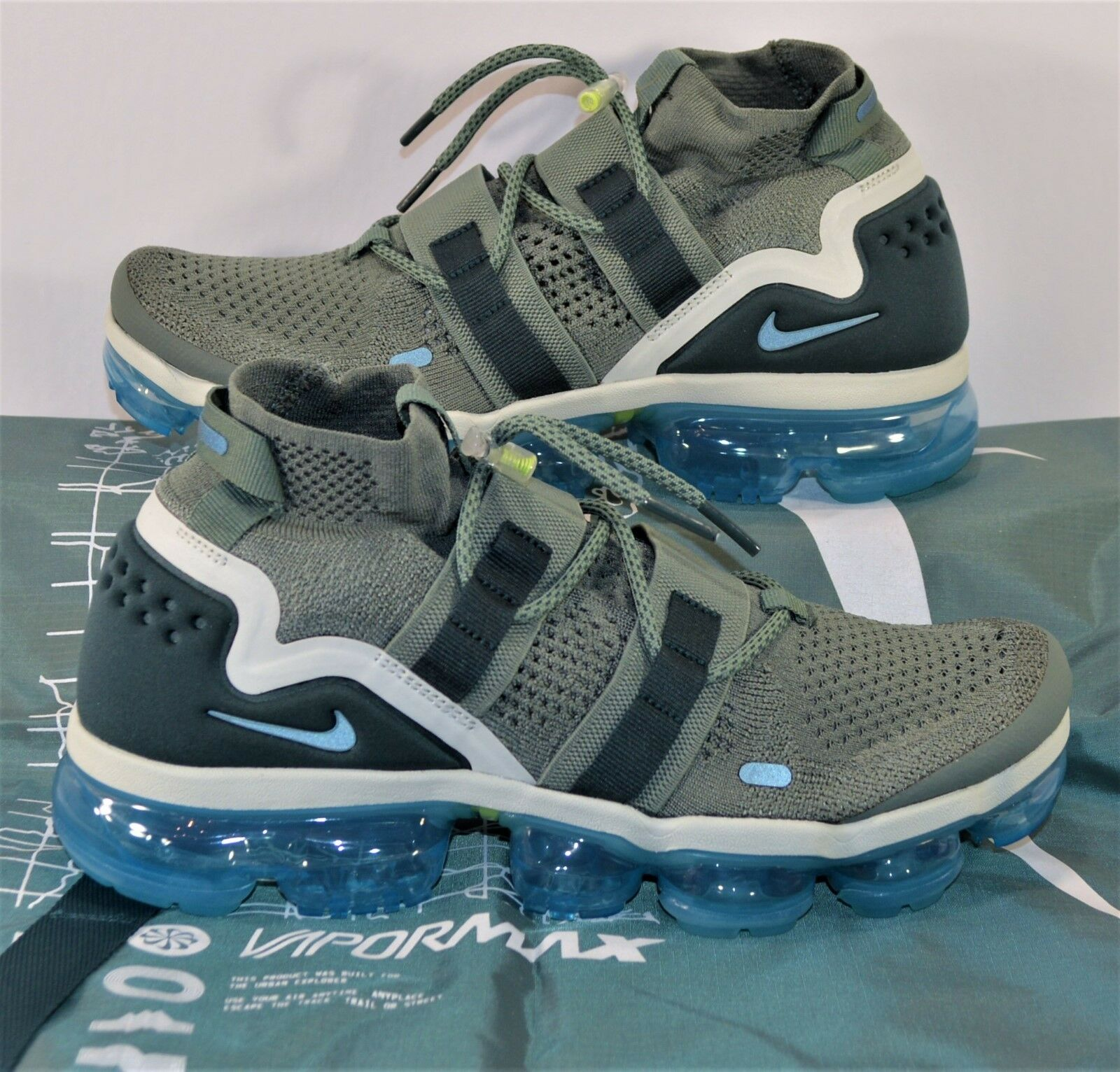 Nike Vapormax FK Utility Flyknit Grey & Blue Running Shoes Sz 9 NEW AH6834 300