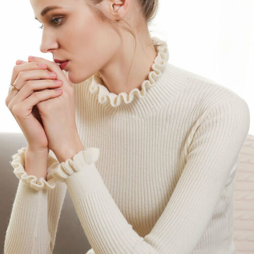 Women/'s Slim Knitted Flounce Turtleneck Cashmere Long Sleeve Jumpers Sweaters