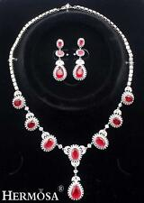 Lady Party Elegant Pure White Red Topaz 925 Sterling Silver Jewelry Sets XK009