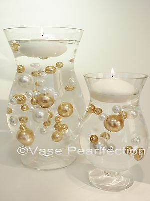 80 Unique Jumbo& Assorted Sizes Gold Pearls& White Pearls Vase Filler Value Pack