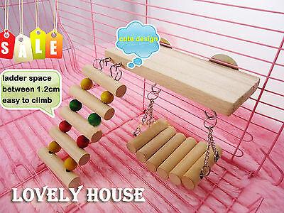 Flexible Wooden Toys Rat Mouse Hamster Birds Hanging Ladder Bridge Shelf Cage