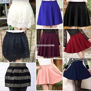 Korean-Girls-Ladies-Waist-Bubble-Tutu-Floral-Lace-Plain-Bubble-Mini-Skirt-EN24H