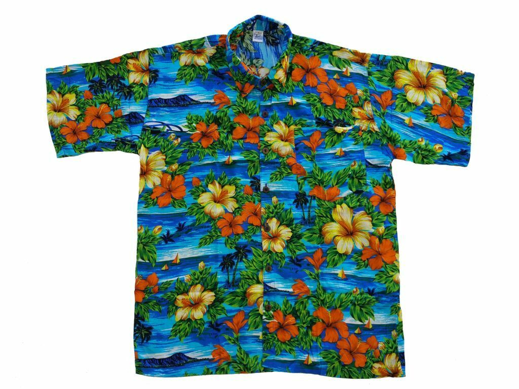 Hawaiian Shirt Hawai Hawaii Shirt Viscose bluee Palm Trees Sea Hibiscus orange