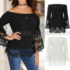 ZANZEA Women Lace Crochet Shirt Off Shoulder Long Sleeve Boat Neck Tops Blouse