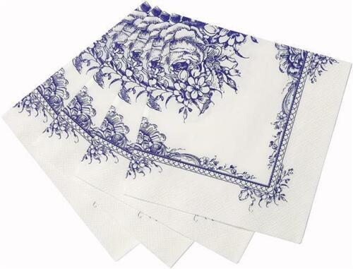 Talking Tables Fête Porcelaine Bleu Floral Parti Serviettes Pack De 20