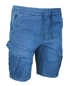 Jeans-bermuda-Cargo-uomo-casual-blu-pantalone-slim-fit-in-cotone-da-42-a-54