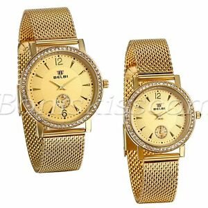 Couples-Luxury-Gold-Stainless-Steel-Rhinestone-Mesh-Band-Date-Quartz-Wrist-Watch