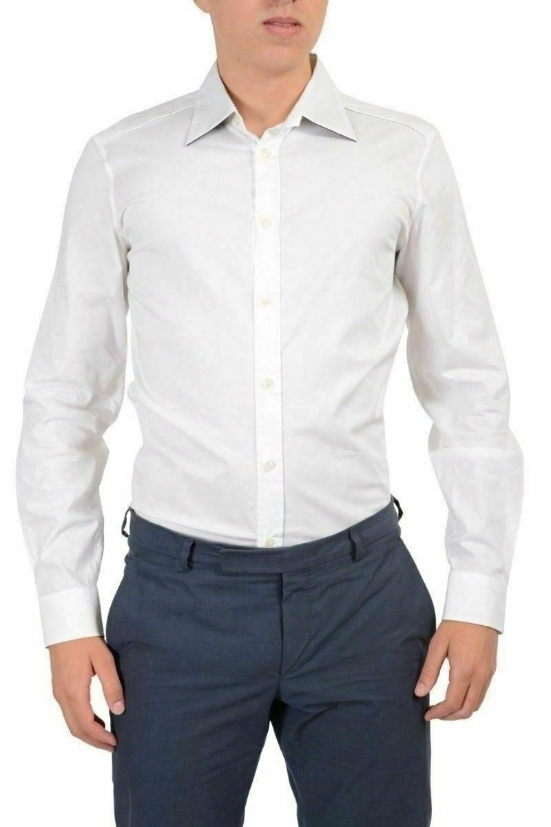 Just Cavalli Men's White Casual Shirt US S IT 48