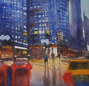 Original Peinture à Laquarelle Paysage Urbain Street Cafe
